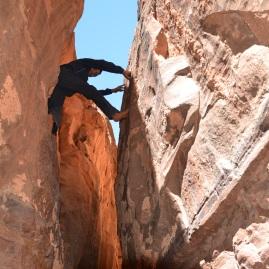 A brave boy in Khazali Canyon, Wadi Rum