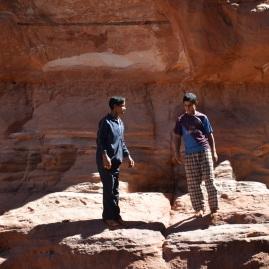 Boys playing in Khazali Canyon