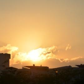 Zachód, piękny Jerozolimski zachód słońca