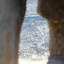 Na Wzgórze Świątynnym. Widok na najstarszy cmentarz żydowski na Górze Oliwnej