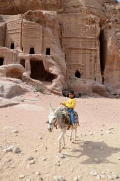 A boy riding His donkey in Petra (2)