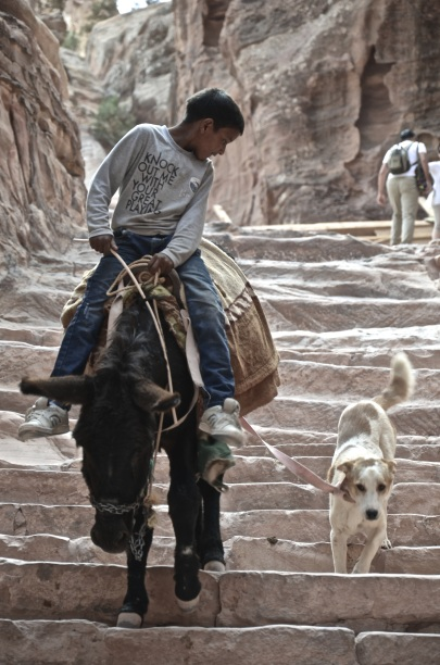 A little boy making His way down from Petra's Monastery